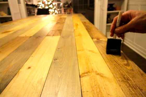 DIY Knock Off Faux Reclaimed Wood Emmerson West Elm Dining Room Table - Charleston Crafted