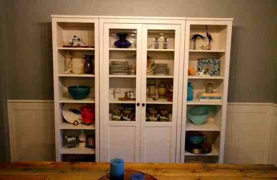 Our New China Cabinet Set Up - IKEA Hemnes Glass Door Cabinet - Charleston Crafted