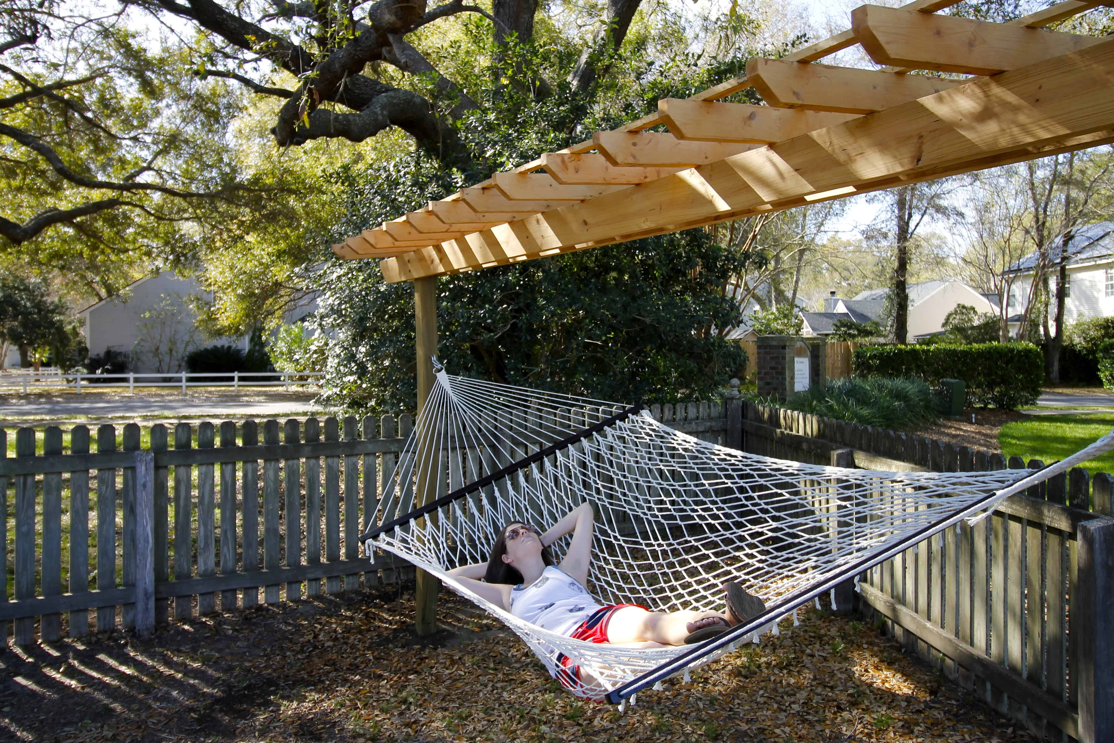 two pin hammock the of my post parents wooden neighbors stand with cheap help permanent pergola