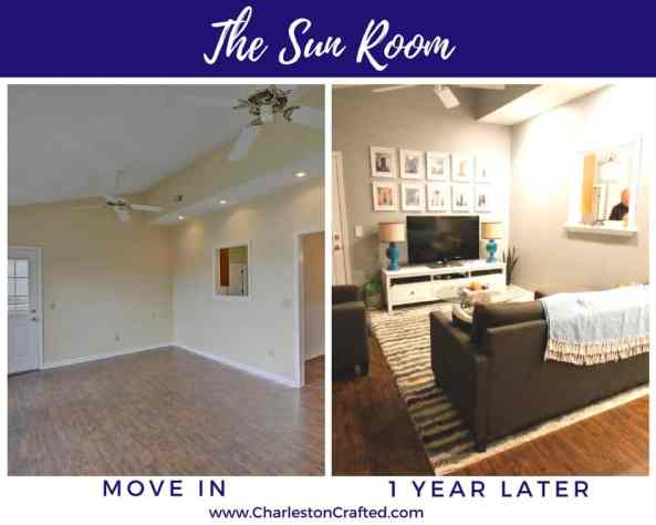 Sun room at move in and one year later - Charleston Crafted