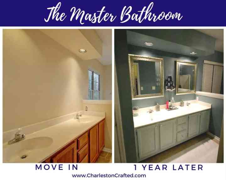 Master Bath room at move in and one year later - Charleston Crafted