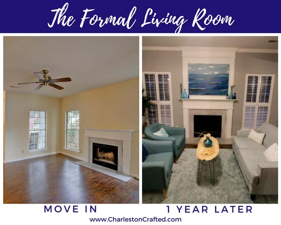 Front Room formal living room at move in and one year later - Charleston Crafted