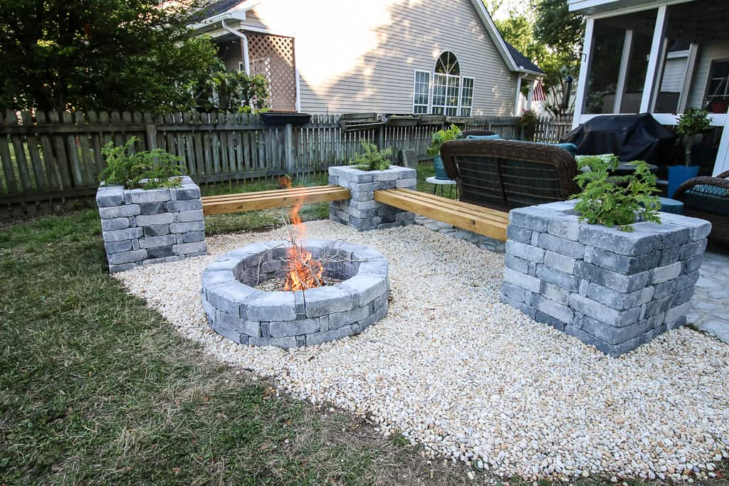 Our Hardscape Benches + Fire Pit with The Home Depot on Hardscape Backyard id=42062