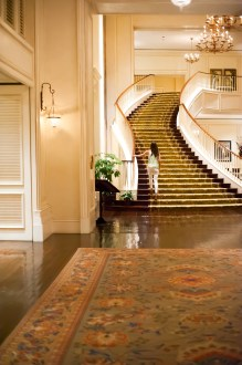 AT THE SANCTUARY, a high polish walnut-plank floor and plush carpet in soothing marsh tones lead to sister staircases, the grandeur of which can make even the most jaded Scarlett swoon.