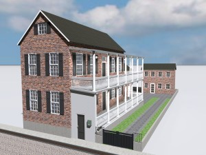 Rendering of a typical Charleston Single House