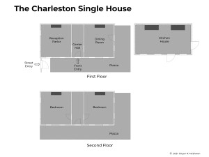 Floor plans for a typical Charleston Single House