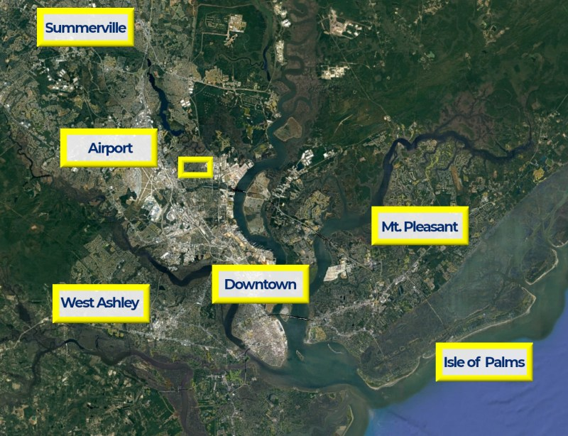 A map of the Charleston area showing the location of Pilgrim Square with nearby areas