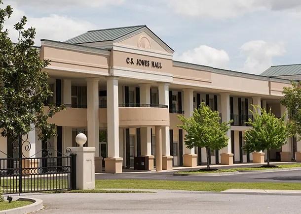 An exterior view of Jones Hall