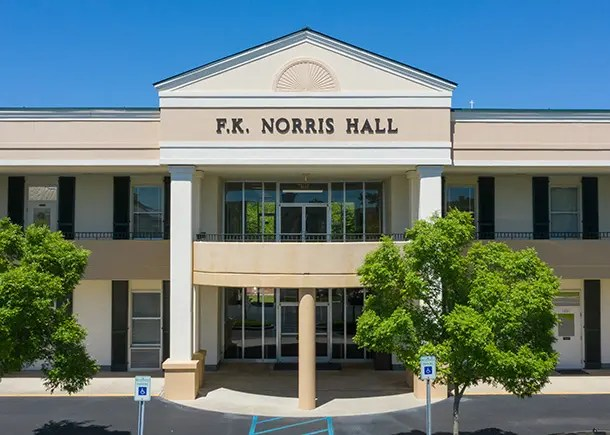 The main entrance to Norris Hall on the campus of CSU.