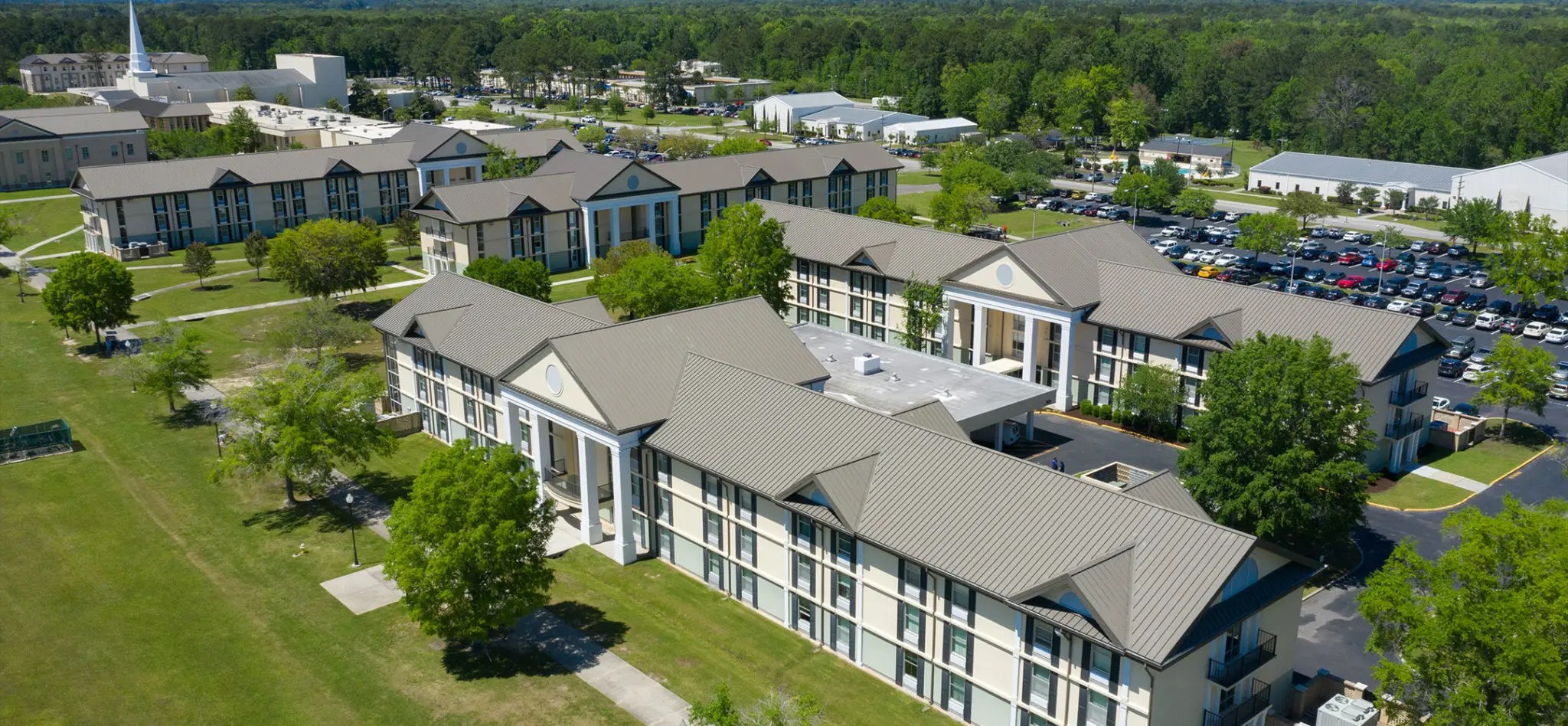 A drone photo of the Russel resident hall buildings.