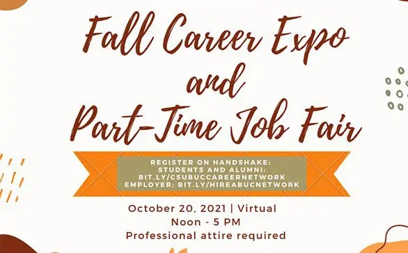 Fall Career Expo and Part-Time Job Fair Graphic that states the time, date, location, and professional attire required.