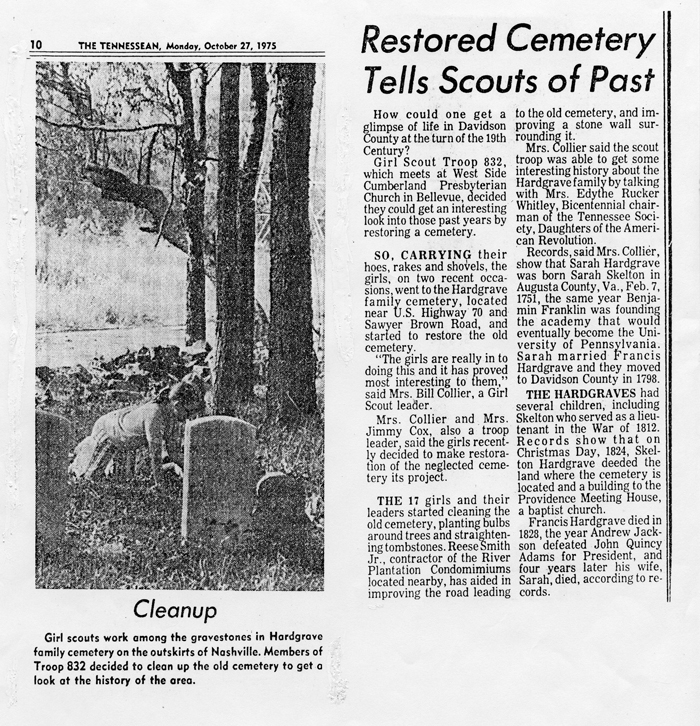 Paper article on Girl Scouts Cleaning Cemetery