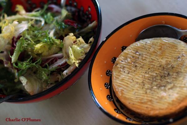 recette camembert salade roti miel