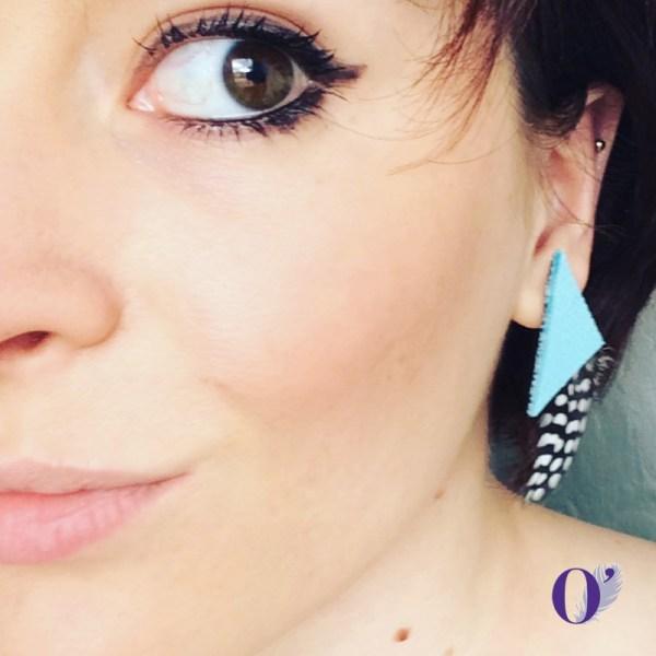 boucles d'oreilles cuir plumes oplumes bleu pintade pois