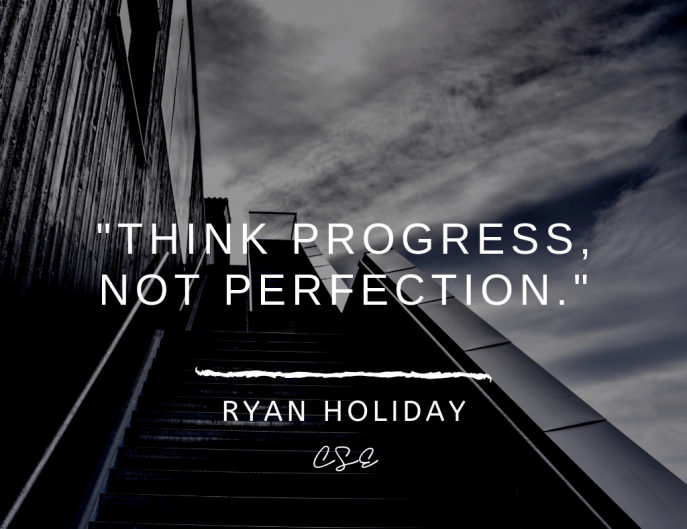 Music, Quotes & Coffee - Think progress not perfection