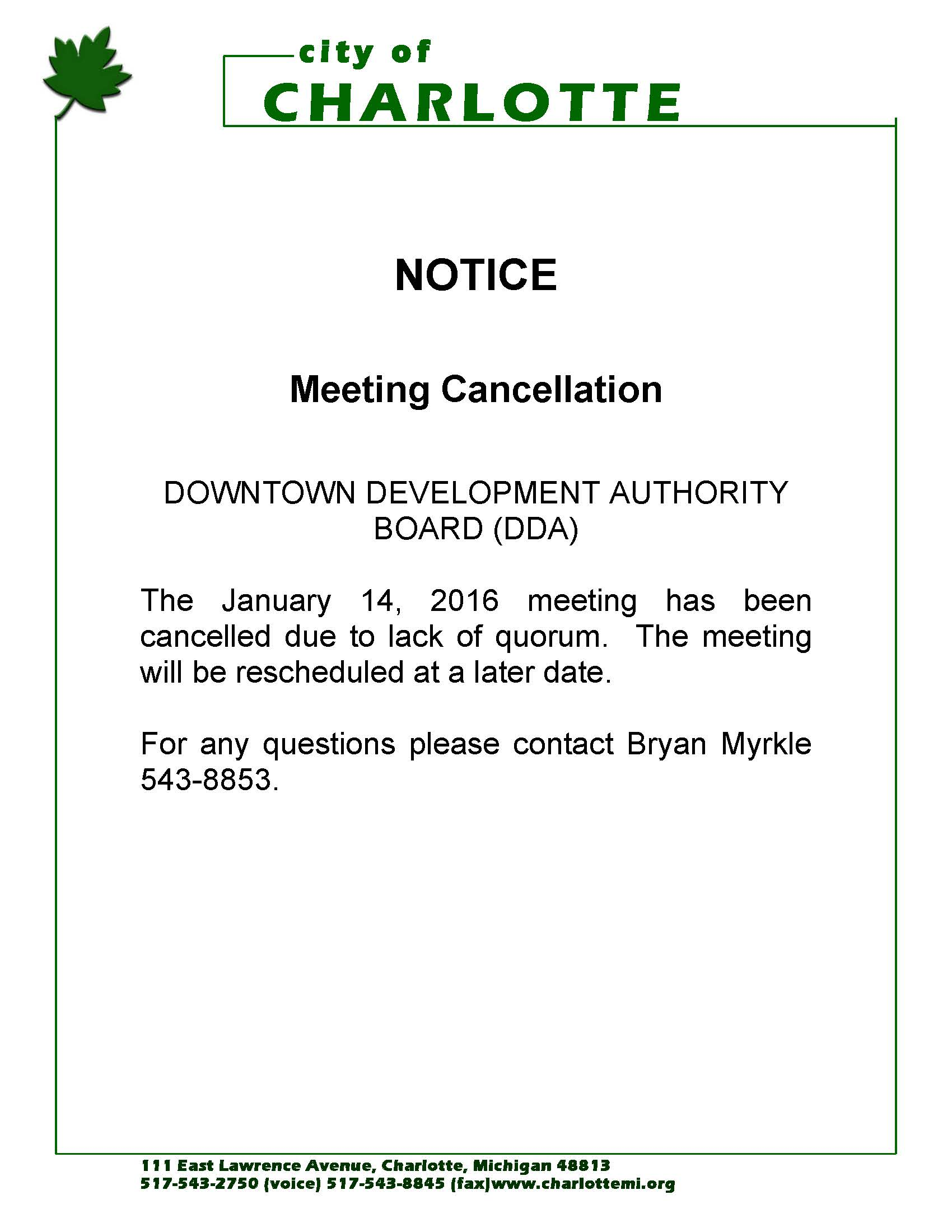 notice of meeting cancellation for the downtown development authority board city of charlotte. Black Bedroom Furniture Sets. Home Design Ideas