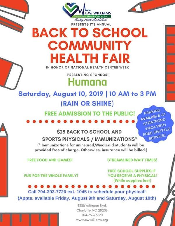 Back to School Community Health Fair - Charlotte On The Cheap