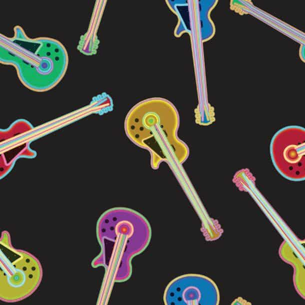 Electric Guitar Pattern Abstract Seamless Texture Vector Art Illustration