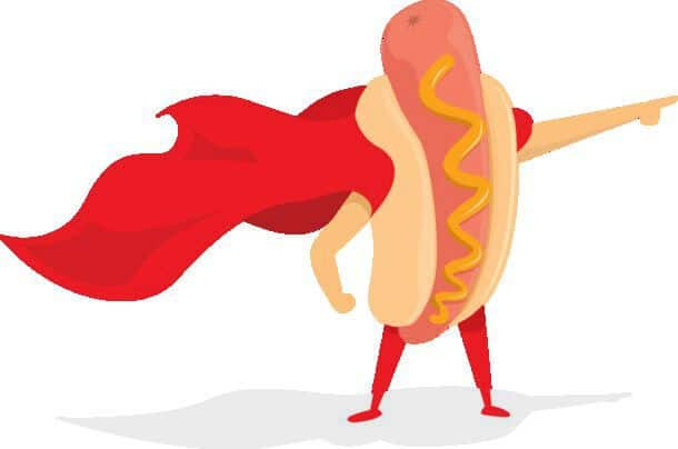 Cartoon Illustration Of Hot Dog Super Hero Standing With Cape