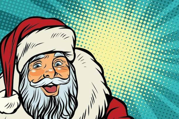 Closeup Of Happy Santa Claus Face Pop Art Retro Vector Illustration Closeup Of Happy Santa Claus Face