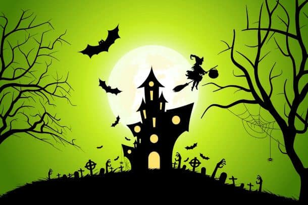 Halloween Background With Witch And Haunted House Bats Moon And Spider Halloween Background With Whitch And Haunted House