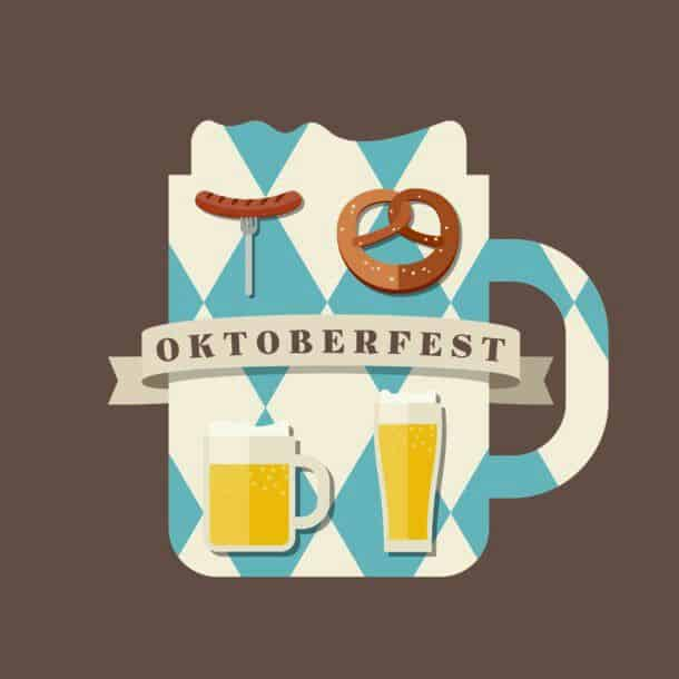 Oktoberfest Icon Oktoberfest Logo Concept Silhouette Mugs Of Beer In The Colors Of The Bavarian Flag Icons With Traditional Snacks For Beer