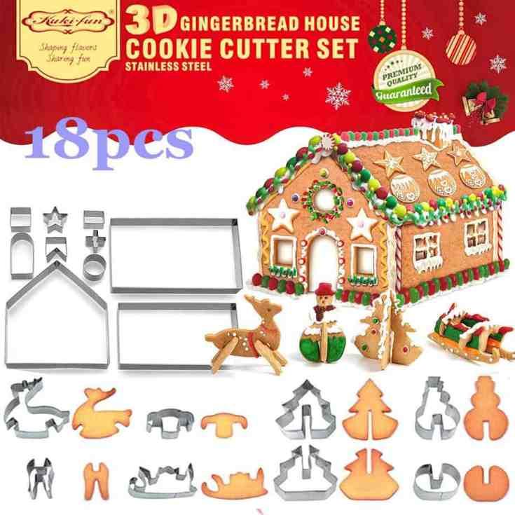 3D Christmas House Cookie Cutter Set