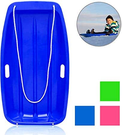 """Soosi Plastic Snow Sleds for Kids and Adult, 35""""Snow Sled Snow Slider Toboggan Sled for Toddlers with 2 Handles and Pull Ropes for Outdoor Winter Slider Downhill Snow Board,Blue-35"""" x 18"""" x 5"""""""