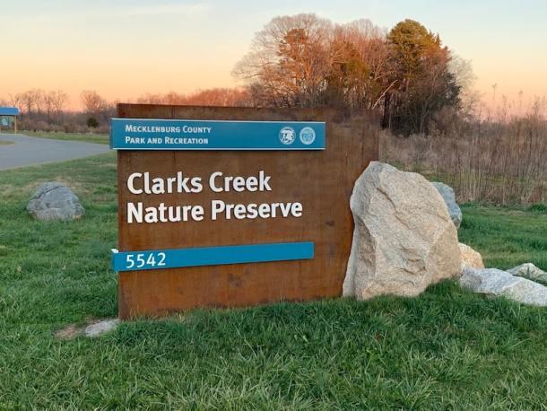 clarks creek nature preserve sign charlotte nc