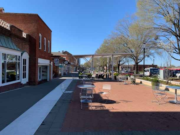 seating area in downtown Kannapolis