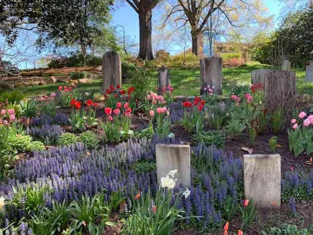 flowers and gravestones in Memorial Garden