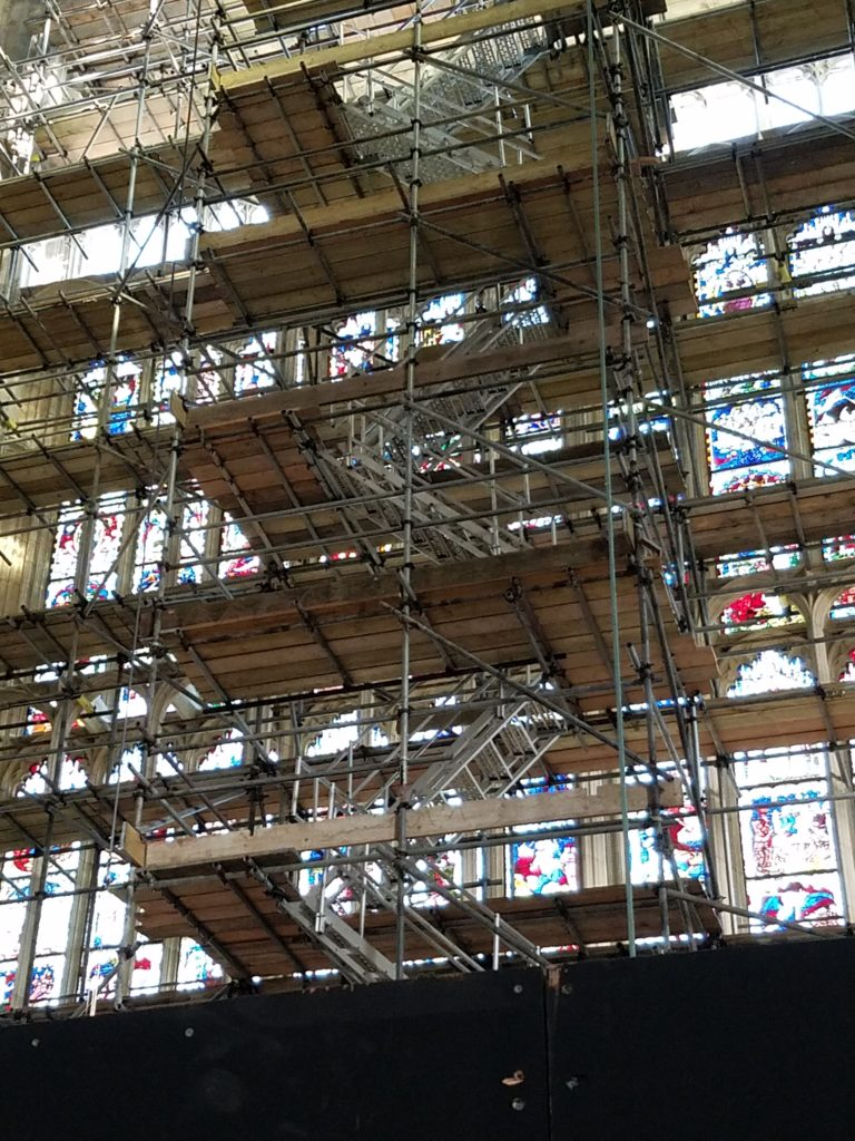 Restoration work on the stained glass windows of The York Minster, York, England, October 2017