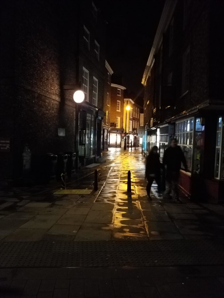 The streets of York at night after the rain, York, England.