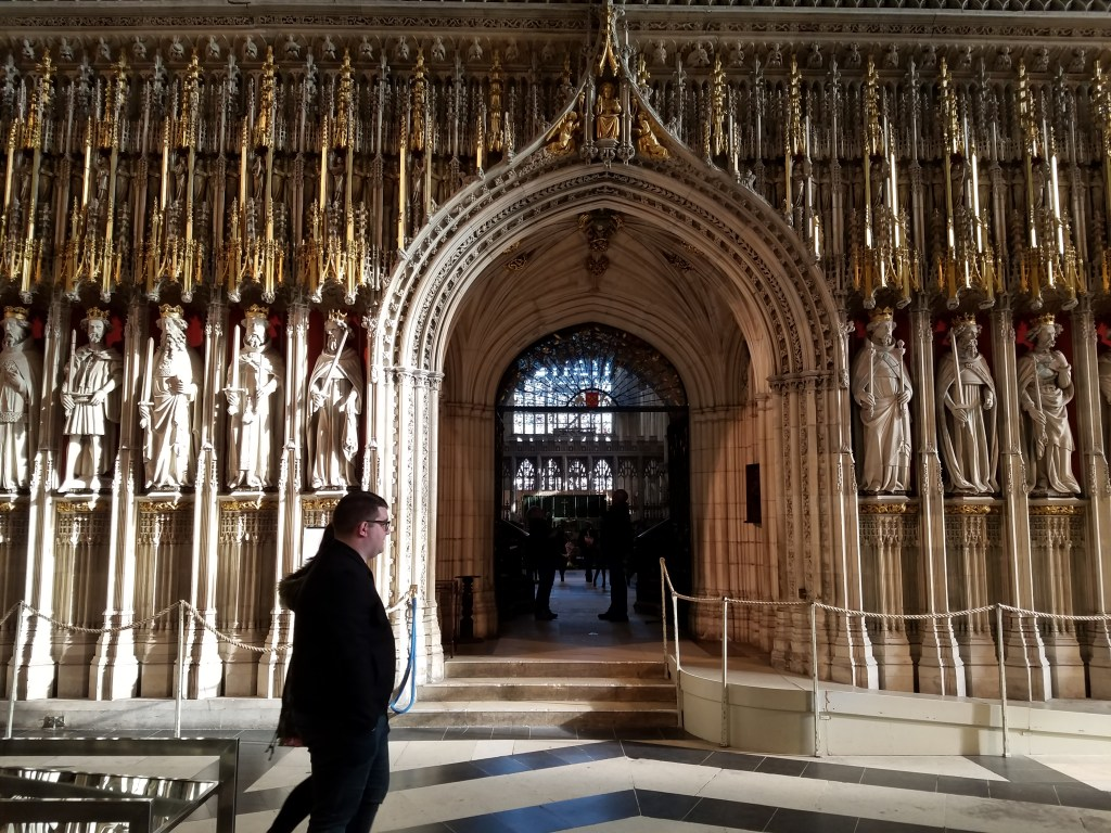 Statues of the Kings of England surrounding the arched entrance leading to the Quire, The York Minster, York, England, October 2017