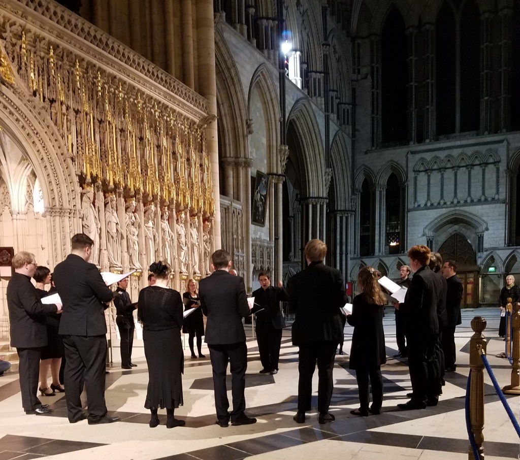 The Ebor Singers performing under the dome in The York Minster, York, England, October 2017