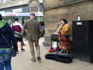 Street entertainers in York, England.