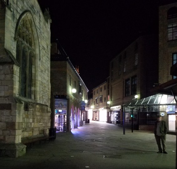 The night streets of York, England.