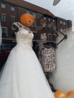 Halloween window display at Wedding Belles and Beaus lacated next to 21 Mickelgate in York, England.