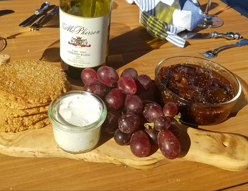 Salted oatmeal cookies. goat cheese, grapes, fig jam, McPherson Chenin Blanc