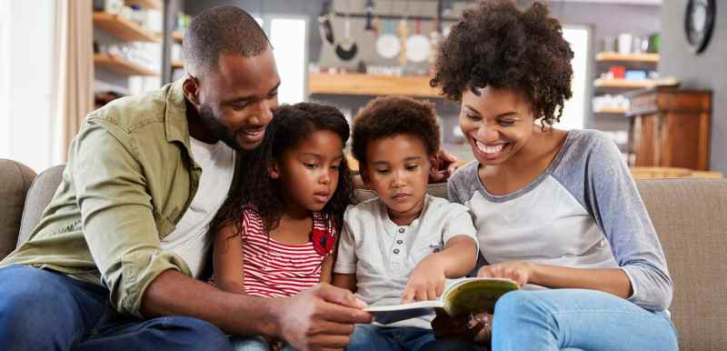 Family reading together