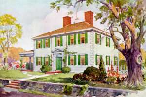 painting of a lovely 2 story home with curb appeal