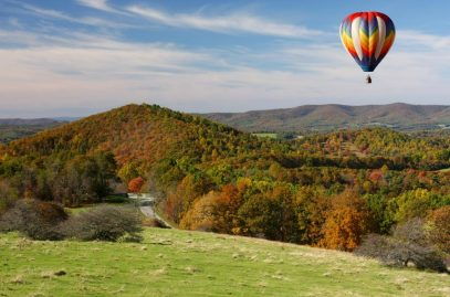Hot air balloon floating over Albemarle County
