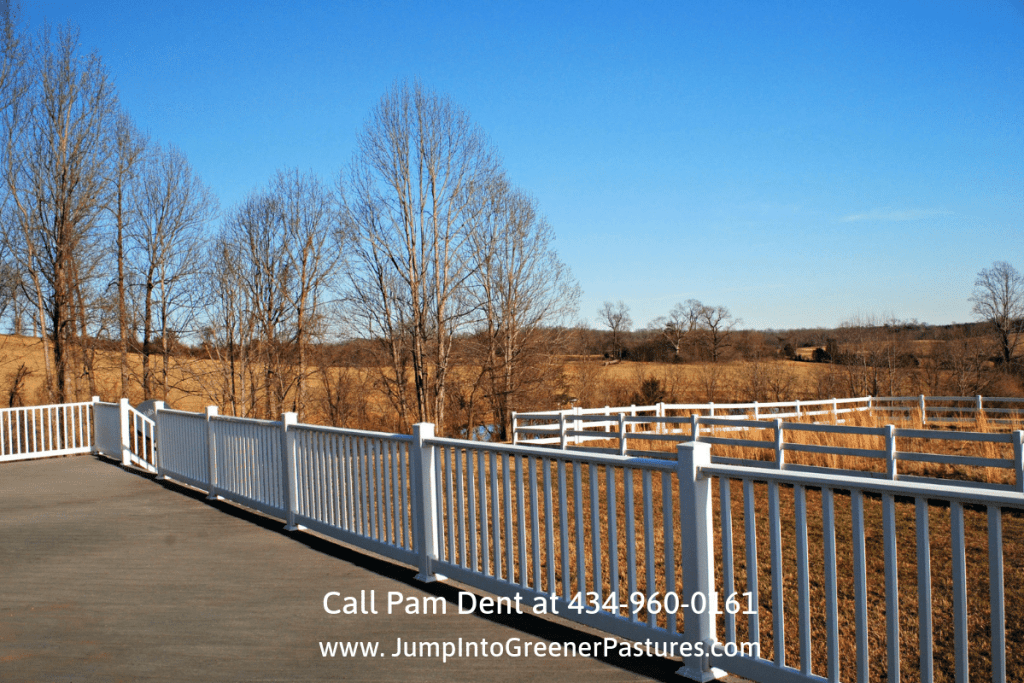 Central Virginia Horse Farms - The Trex deck floor of this horse farm for sale in Central Virginia is truly a stunner!