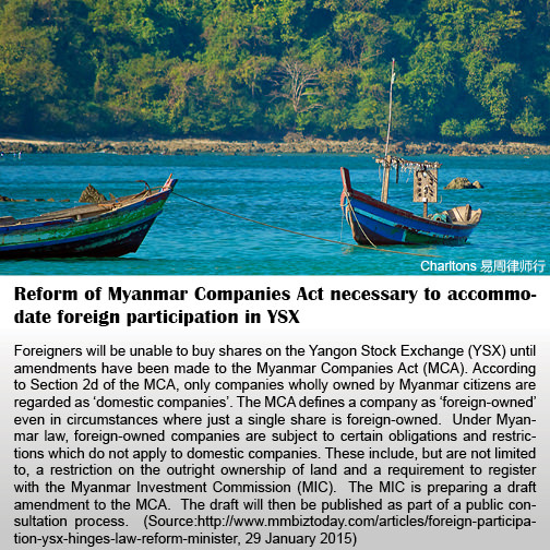 Reform of Myanmar Companies Act necessary to accommodate foreign participation in YSX