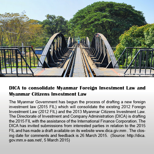 DICA to consolidate Myanmar Foreign Investment Law and Myanmar Citizens Investment Law