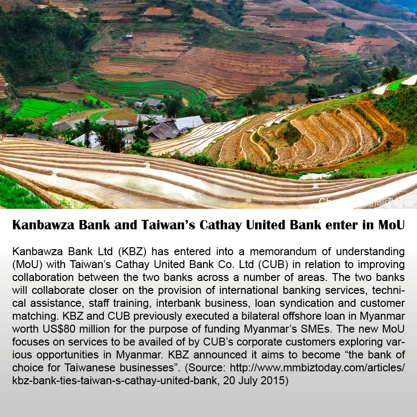 Kanbawza Bank and Taiwan's Cathay United Bank enter in MoU