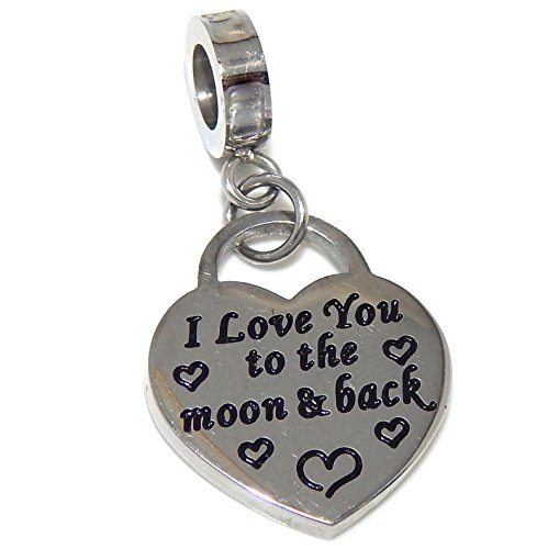 """/""""I Love you to the moon /& back/"""" bag charm stainless steel pendant alloy charms"""