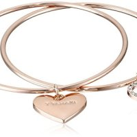 "T Tahari ""Essentials"" Rose Gold Set Duo with Heart Charm and Crystals Bangle Bracelet"