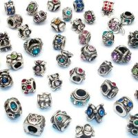 Ten (10) Assorted European Style Crystal Rhinestone Charm Beads. Compatible With Troll, Baigi, Chamilia, Zable, And Many Other Charm Bracelets.