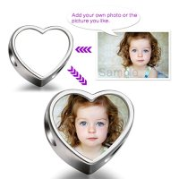 FERVENT LOVE add your own photo custom Heart Photo Charm Beads